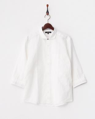 ホワイト  コットンリネンシャツ見る