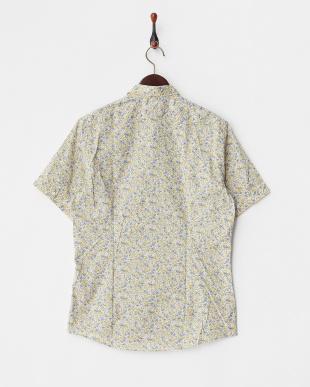 イエロー  小花柄プリント半袖シャツ見る