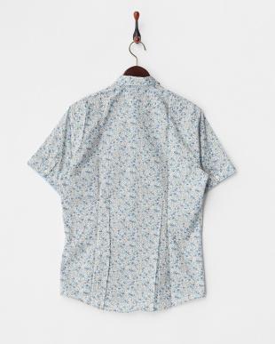 ライトブルー  小花柄プリント半袖シャツ見る