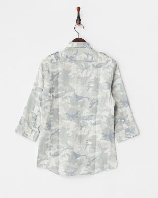 ブルー系  カモフラージュ柄7分袖リネンシャツ見る
