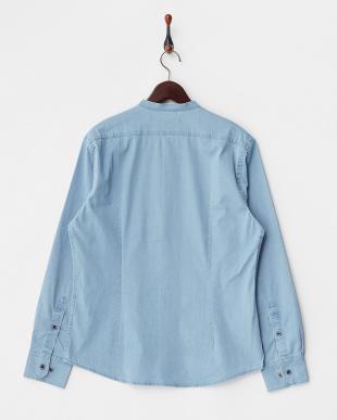 ライトブルー  ストレッチスタンドカラーシャツ見る