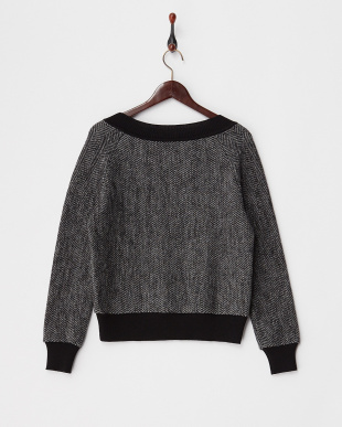 ブラック  ヘリンボーンウールセーター見る