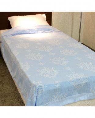 ブルー  先染ジャガード織タオルケット シングル見る