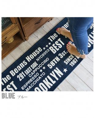 ブルー  シェニールプリントマット ベスト 45×75cm見る