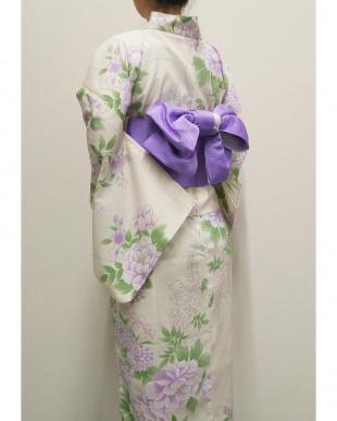 アイボリー  ラクチン綺麗 浴衣(牡丹と菊と藤)見る