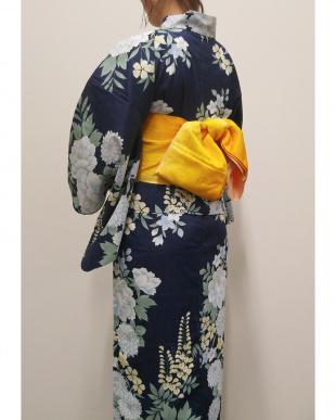 ネイビー  ラクチン綺麗 浴衣(牡丹と菊と藤)見る