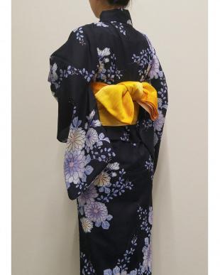 ネイビー  ラクチン綺麗 浴衣(万寿菊)見る