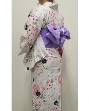 アイボリー 浴衣(鞠と桜)見る
