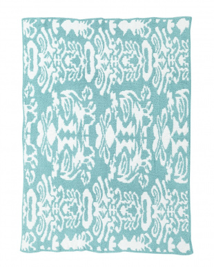 TENDER BLUE/CREME  THROW DAMASK PATTERNED ブランケット見る