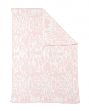 PINK/WHITE  THROW DAMASK PATTERNED ブランケット見る
