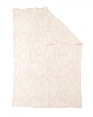 PINK/CREME  THROW DAMASK PATTERNED ブランケット見る