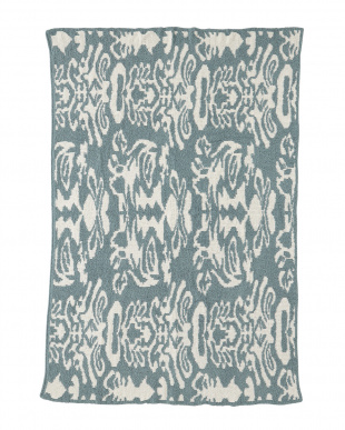 SILVER BLUE/CREME  THROW DAMASK PATTERNED ブランケット見る