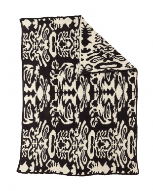DK GREY/MALT  THROW DAMASK PATTERNED ブランケット見る