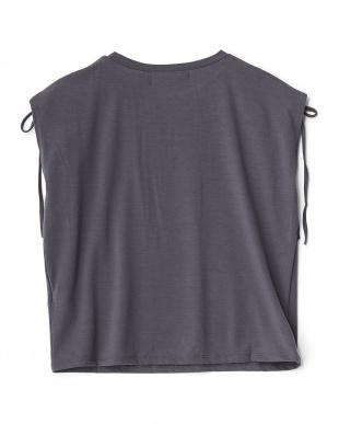 CHARCOAL  肩ドローストリングノースリーブTシャツ見る