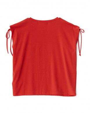 RED  肩ドローストリングノースリーブTシャツ見る