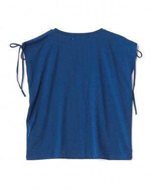 ROYAL BLUE  肩ドローストリングノースリーブTシャツ見る