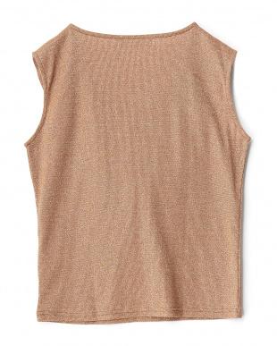 BROWN  ラメフリルノースリーブTシャツ見る