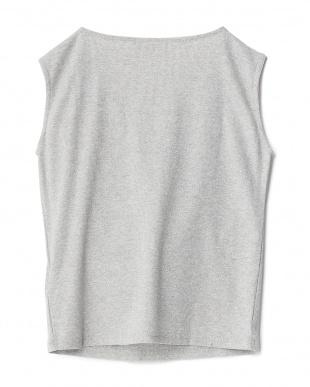 GRAY  ラメフリルノースリーブTシャツ見る