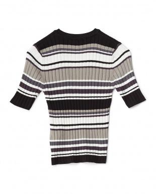 BLACK マルチボーダー5分袖セーター見る