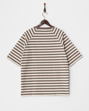 BROWN  ハイカウントボリュームボーダーTシャツ 5分袖見る