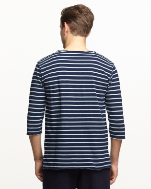 NAVY  カットデニムボーダーTシャツ(7分袖)見る