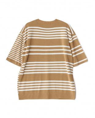 BEIGE ボーダーブロックドセーター(5分袖)見る
