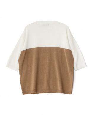 WHITE  コットンリネンブロックドセーター(5分袖)見る