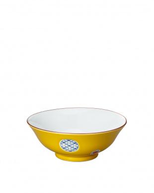 黄彩丸紋 和風麺鉢見る