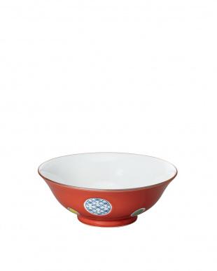赤釉丸紋 和風麺鉢見る