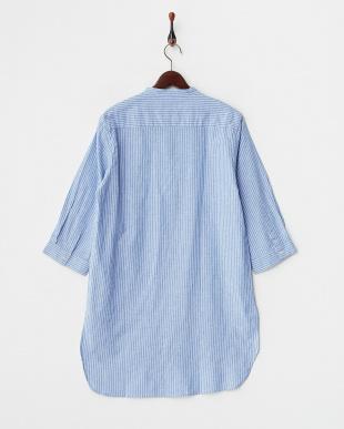 BLU  綿麻ストライプロングシャツ WH見る