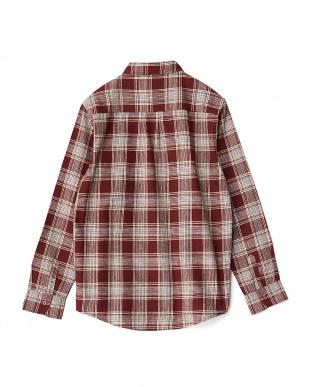 BURGUNDY  綿麻マドラスチェックシャツA WH見る