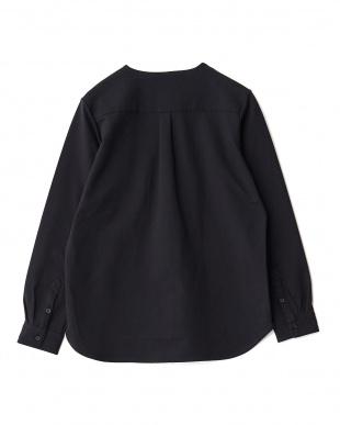 BLACK  コットン天竺ノーカラーL/Sシャツ WH見る
