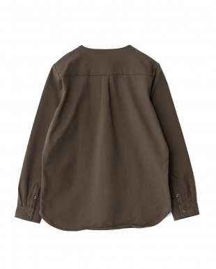 KHAKI  コットン天竺ノーカラーL/Sシャツ WH見る