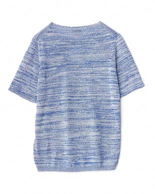OFF WHITE/BLUE  麻感糸クルーネック半袖ニット WH見る