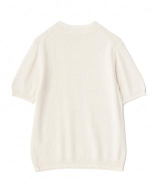 IVORY/OFF WHITE  綿麻引き揃え半袖ニット WH見る