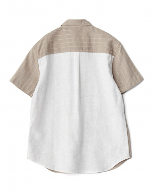 BEIGE  バック切替リネンS/Sシャツ WH見る