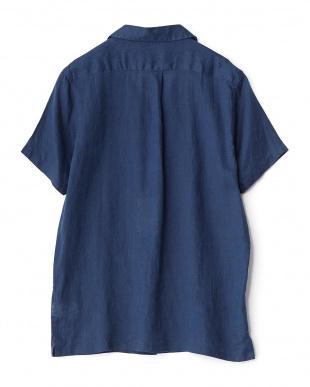 BLUE  フレンチリネン半袖オープン WH見る