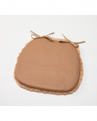 ブラウン  洗える羊毛ダイニングチェア用シート 40×38見る