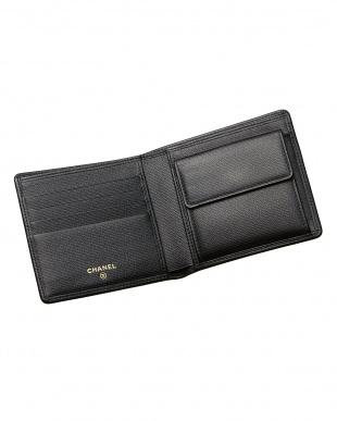 ブラック ココボタン 二つ折り財布見る