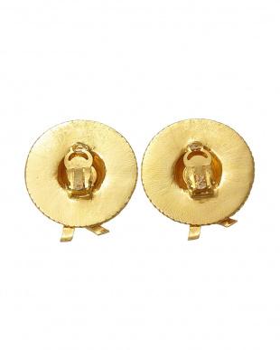 ゴールド リボン付きハットイヤリング見る