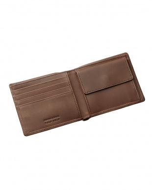 ダークブラウン  国産カーフスキン二つ折り財布見る