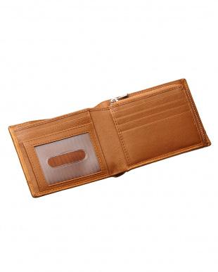ブラウン  ファスナータイプ 二つ折り財布見る