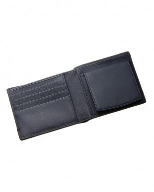 ネイビー  ボックスタイプ 二つ折り財布見る