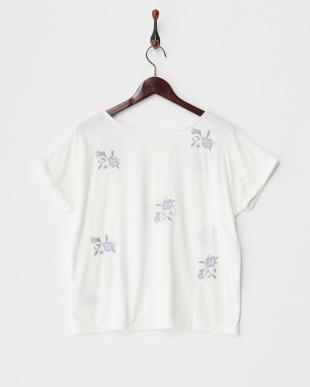 ホワイト 2WAYフラワーシシュウTシャツ見る