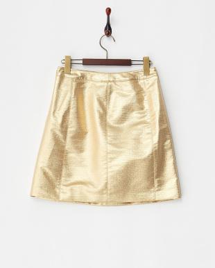 ゴールド 台形ミニスカート見る