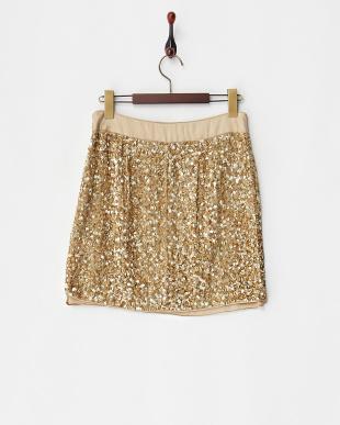 ベージュ×ゴールドスパンコール刺繍スカート見る
