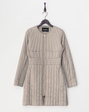 medium grey CACAO ファーティペット付き中綿入りコート見る