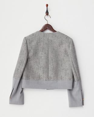light grey pattern  PERLINA 異素材切り替えジャケット見る