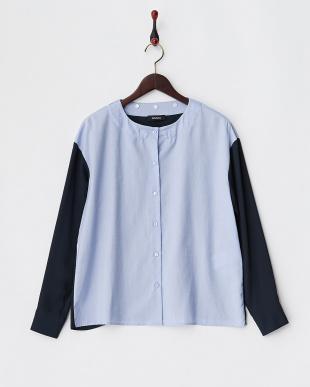 ブルー  ビーズ衿素材切替シャツ見る