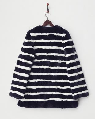 NAVY Striped Fur Coat見る